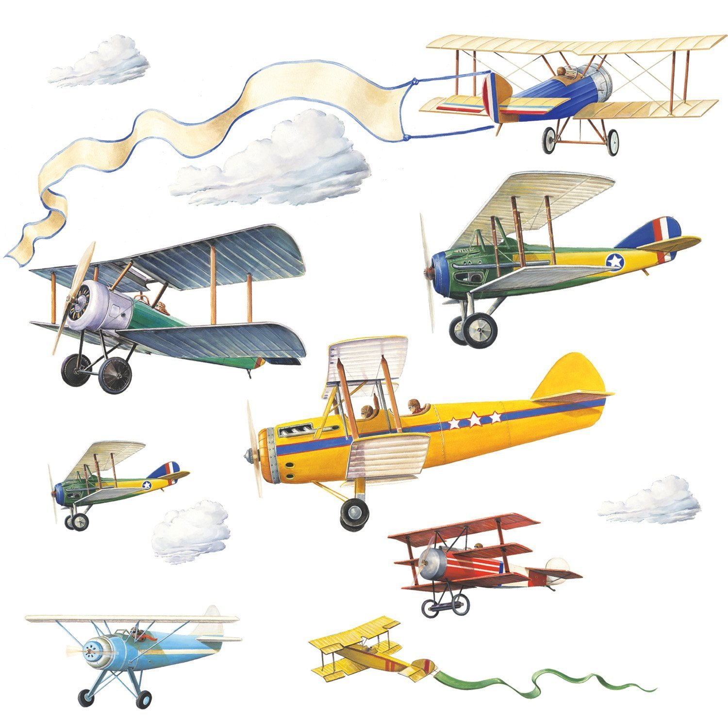 Superb RoomMates Repositionable Childrens Wall Stickers Vintage Planes:  Amazon.co.uk: Kitchen U0026 Home Part 22