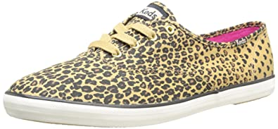 Keds Womens Champion Leopard Heart Tan Oxford Shoes #WF51887 (6.5)