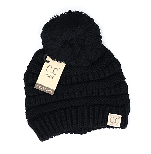 65c4470dc91 Crane Clothing Co. Women s Kids Solid Pom CC Beanies One Size Black ...