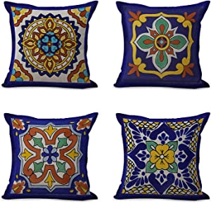 "Semtomn Set of 4 Linen Throw Pillow Covers Spanish Talavera Exotic Geometry Dark Retro Ethnic Home Decorative 18""x18"" Flax Pillow Cases Cushion Square Pillowcases"