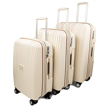 e177701fa Amazon.com   GoLuggage Modern Hard Suitcase Set - Higest Quality Large Carry  On Hard Travel Case With Wheels - Best Deal For The Best Quality (Beige) ...