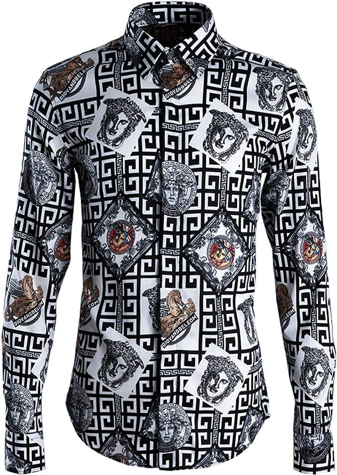 New Maze Head Camisa de Hombre Slim Ropa de Hombre: Amazon.es ...