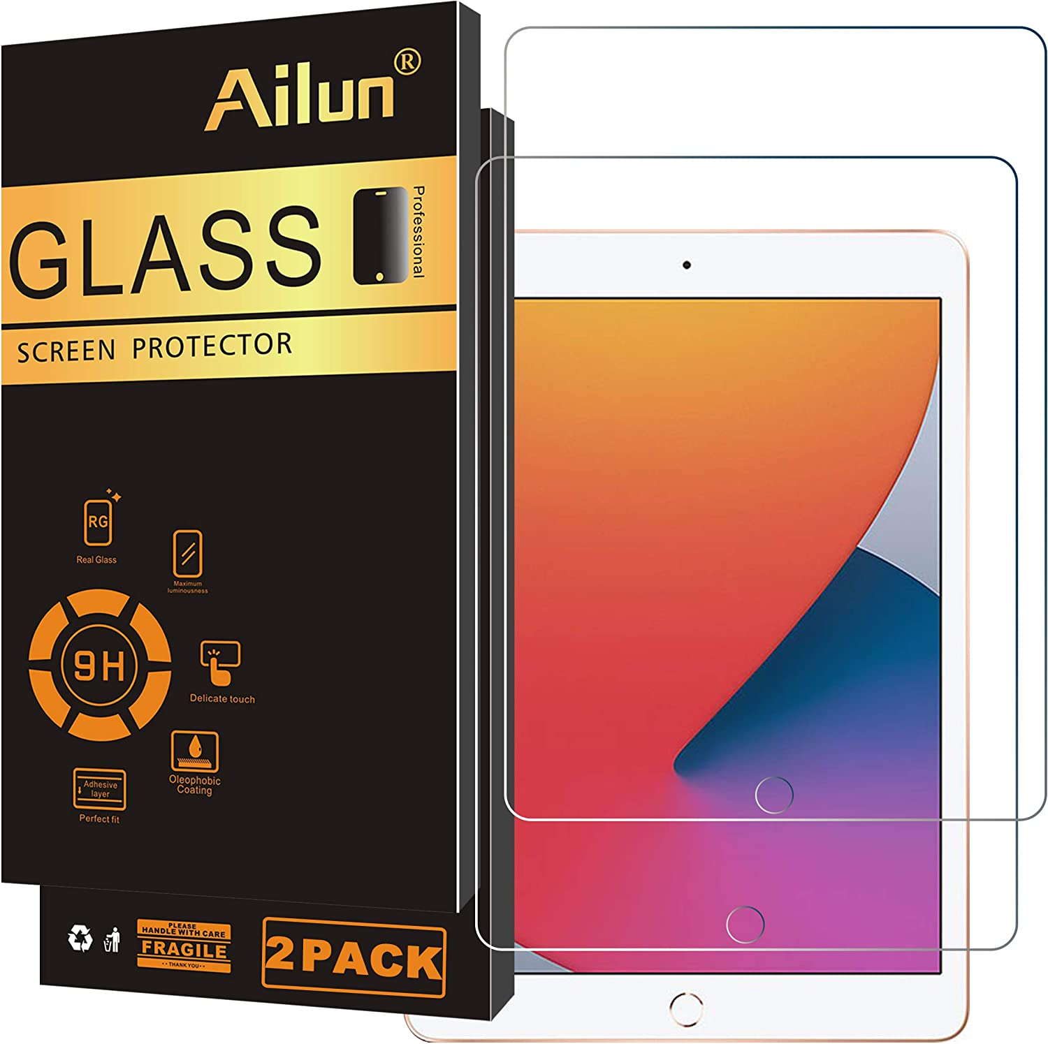 Ailun Screen Protector Compatible for New iPad 8,iPad 7 (10.2-Inch, 2020&2019 Model, 8th&7th Generation) [2Pack] 2.5D Tempered Glass [Apple Pencil Compatible] Case Friendly