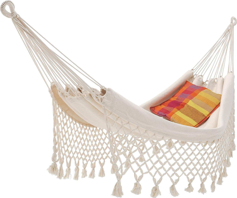 ECOMUNDY Romance Bio L 320 Natur weiß - Luxus Hängematte mit Fransen - Handgewebt - GOTS - Bio Baumwolle (130x200x320cm)