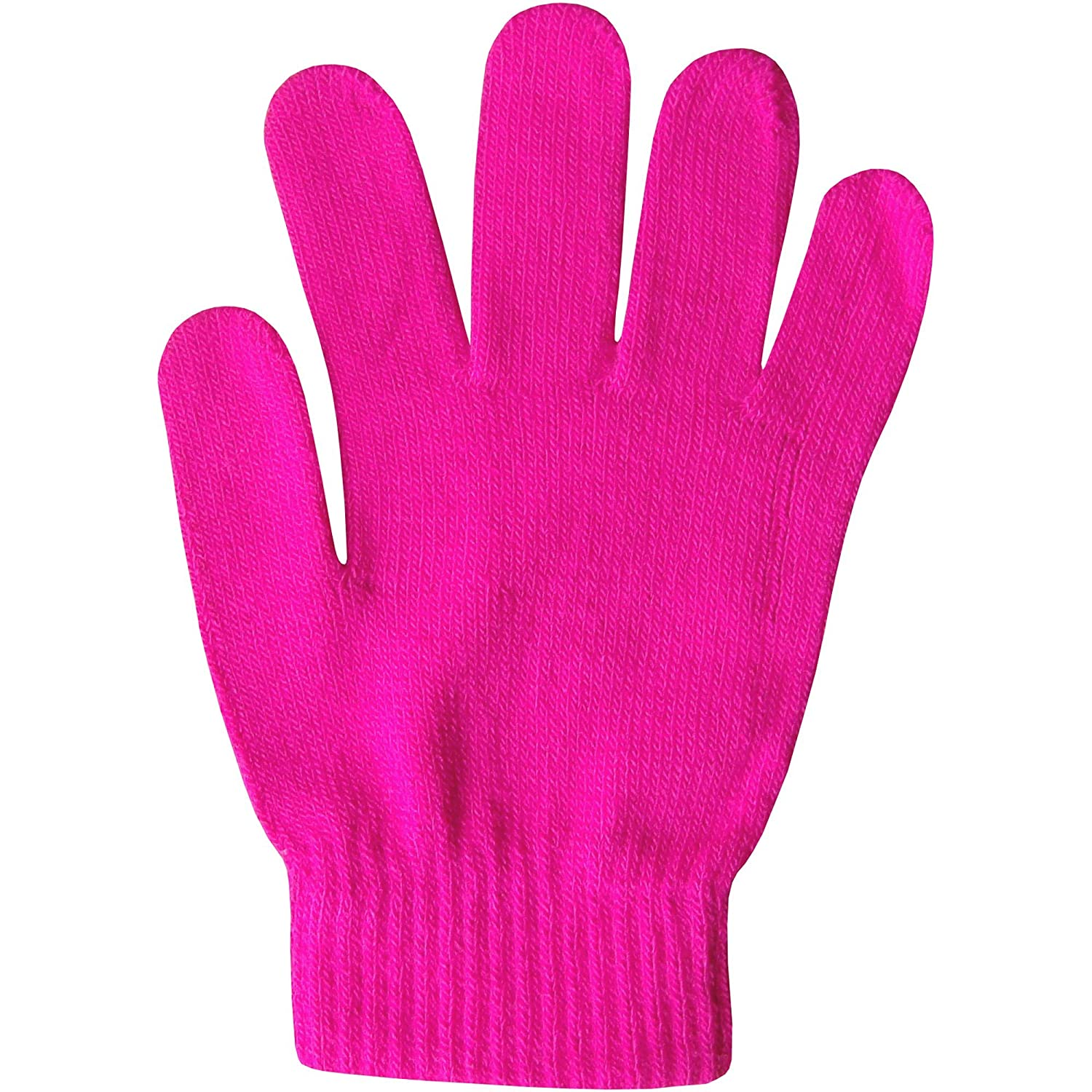 Boy's & Girl's Unisex Fluorescent Super Soft Fine Knit Neon Magic Winter Gloves NeonGlovesKidsPNK
