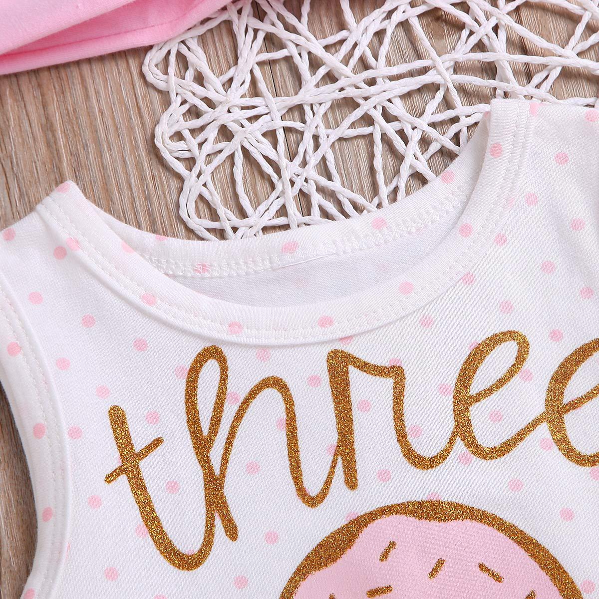 Toddler Baby Girl 1st Birthday Outfit Sleeveless One Donut Print Tutu Dress Headband Set