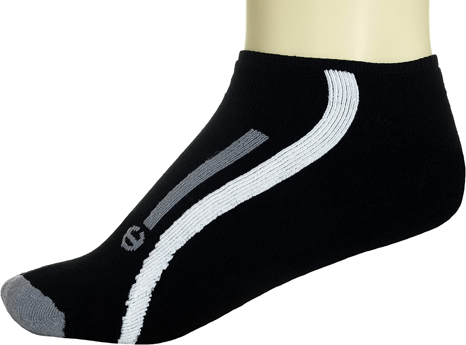 Mens No Show Double Dry High Performance Striped Sport Socks 2-Pack