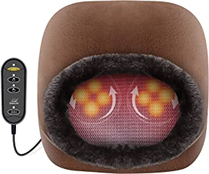 Snailax 2-in-1 Shiatsu Foot Massager Warmer - Soft Plush Feet and Back Massager for Women Men with Heating Pad, Back Massage Cushion, Massagers for Back,Leg,Foot Pain Relief