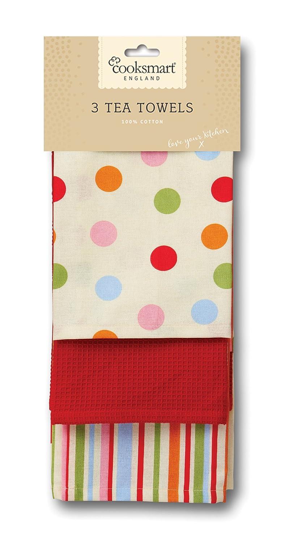 Cooksmart Tea Towels, Pack of 3, Spots: Amazon.co.uk: Kitchen & Home