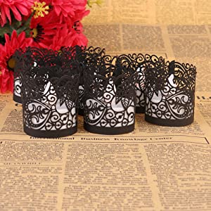 Candle Wraps, Sevend 50 Pieces Tea Light Wraps and Candles Holders for Weeding, Table, Gift, Outdoor (Black Candle Wraps)