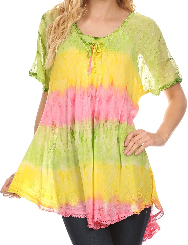 Sakkas Womens Monet Long Tall Tie Dye Ombre Embroidered Cap Sleeve Blouse Shirt Top