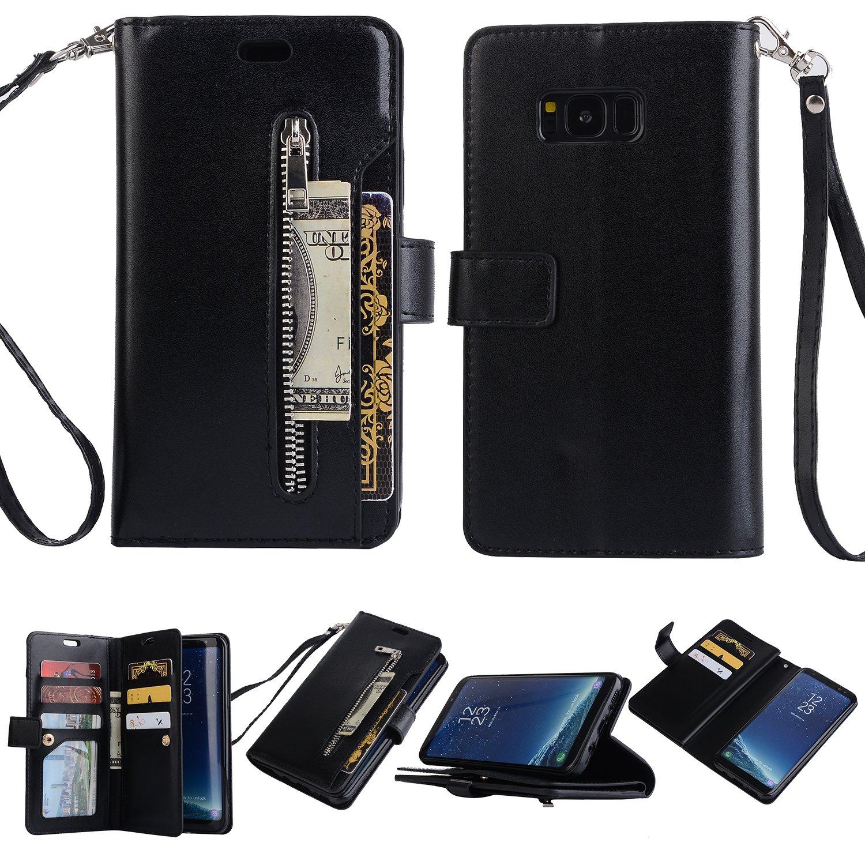Artfeel Coque Samsung Galaxy S8 Portefeuille à Rabat Étui Menthe Verte avec 9 Fentes pour Cartes, Premium en Cuir Magnétique Support Housse avec Fermeture éclair Poche et Dragonne Couverture