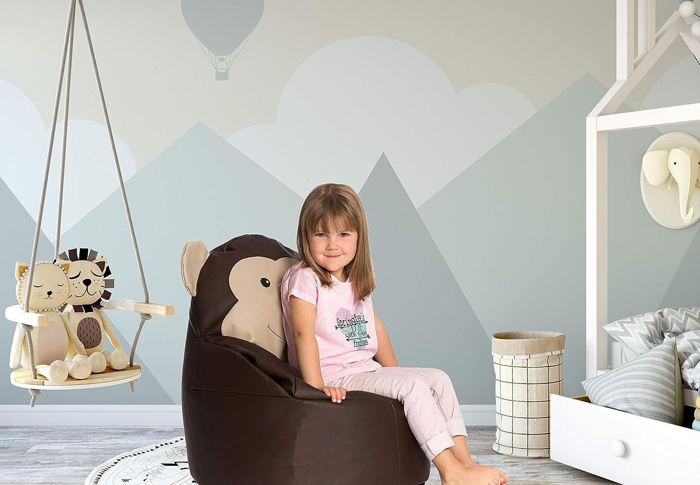 Kunstleder 65x55/Ø cm Zollner Kinder Sitzsack braun /Äffchendesign