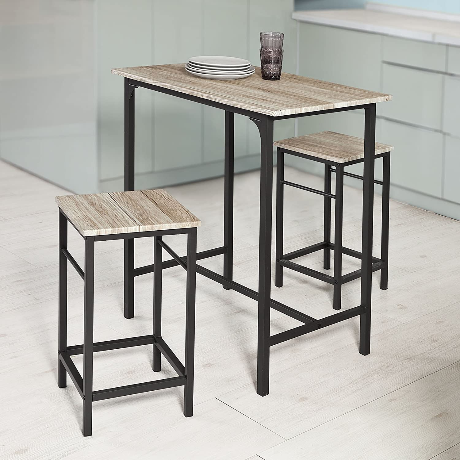 Sobuy Ogt11 N Set De 1 Table 4 Tabourets Ensemble Table De Bar