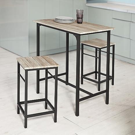 SoBuy® Set 3 pezzi Tavolo con 2 sgabelli, Set di mobili da balcone ...