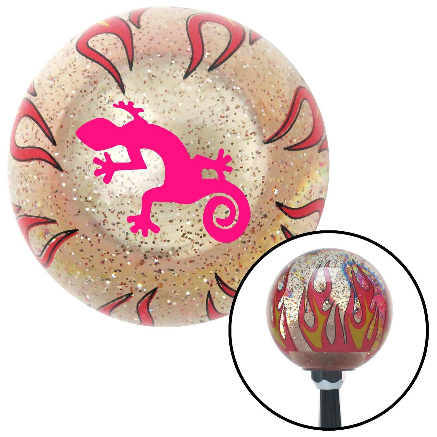 American Shifter 232472 Clear Flame Metal Flake Shift Knob with M16 x 1.5 Insert Pink Gecko