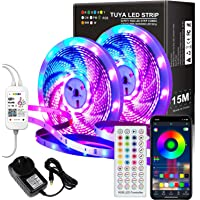 AUSELECT 15M LED Strips WiFi TUYA APP 2x7.5M AU Plug Color Changing Rope Supply Home Bedroom Kitchen