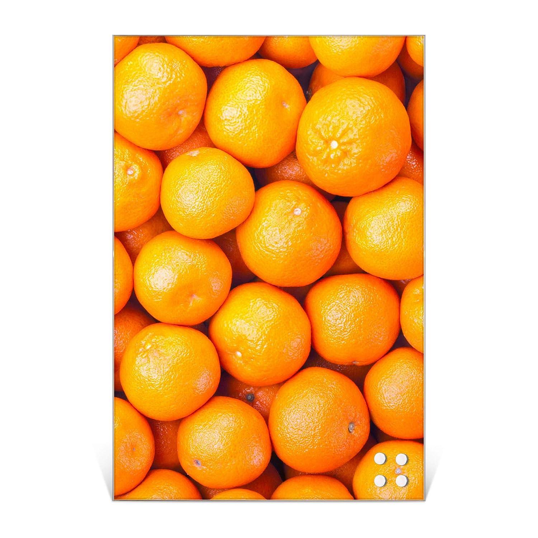 BANJADO Design Glas-Magnettafel 40x60cm gro/ß Memoboard beschreibbar Magnetwand mit 4 Magneten Magnetboard mit Motiv Orangen