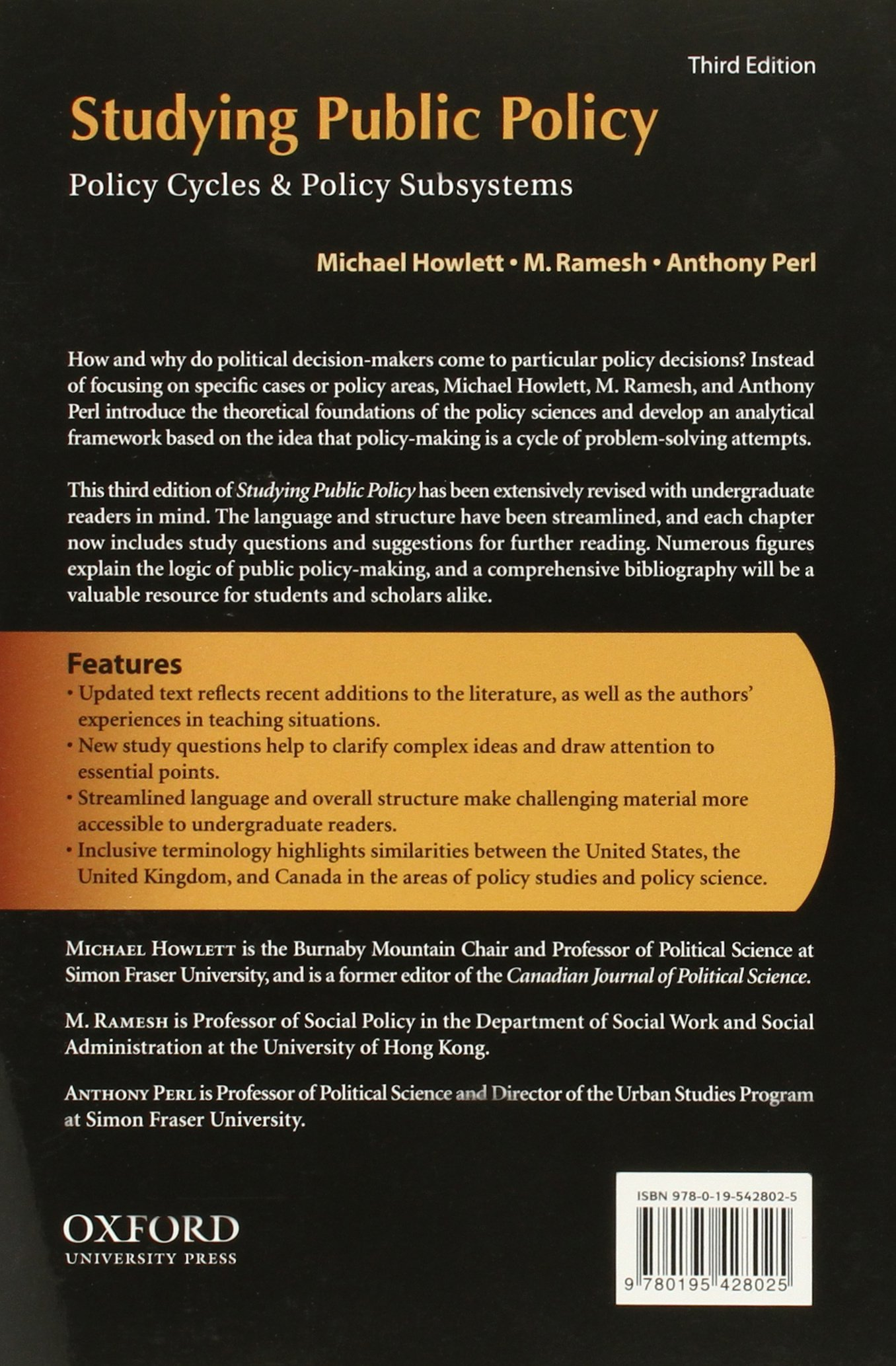 Studying Public Policy: Policy Cycles and Policy Subsystems: Michael  Howlett, M. Ramesh, Anthony Perl: 9780195428025: Government: Amazon Canada