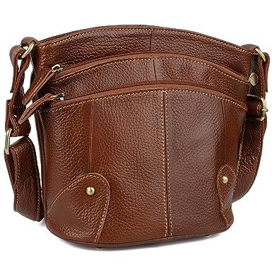 d741b9125aaf YALUXE Shoulder Bag Women's Cowhide Genuine Leather Multi Zipper Mini Purse  Small Crossbody Brown