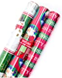 Hallmark Christmas Reversible Wrapping Paper (Foil Patterns, 3 Pack)
