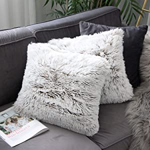 Uhomy Home Decorative Luxury Series Super Soft Style Artificial Fur Throw Pillow Case Cushion Cover for Sofa/Bed Brown Khaki Ombre 18x18 Inch 45x45 cm Set of 2