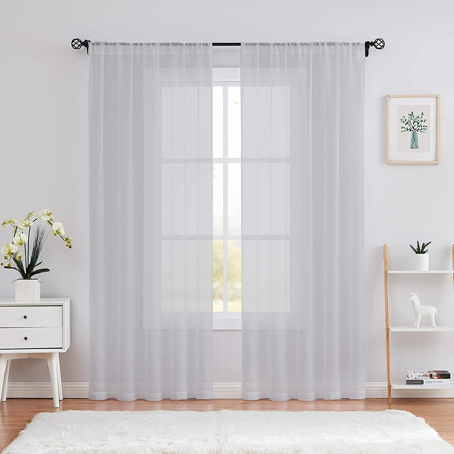 Amzdecor Grey Sheer Window Curtain Panels 108 Inch for Living Room, Linen Texture Rod Pocket Bonus Length Adjusted Iron Tape Voile Curtain for Bedroom, Dining Room 52x108 Inch, Gray, Set of 2 Panels