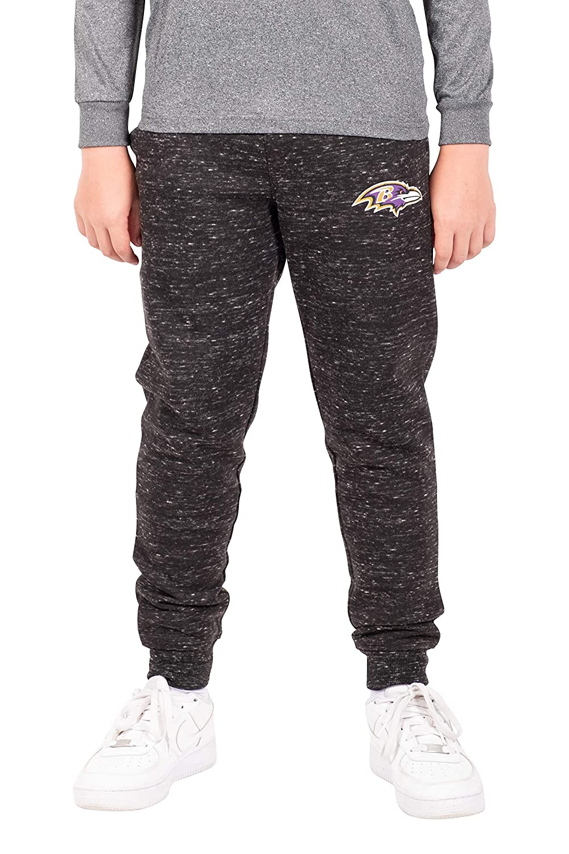 Ultra Game NFL Boys Extra Soft Black Snow Fleece Jogger Sweatpants