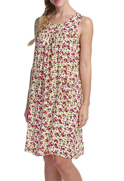 7bb096136ac POGT Misses Womens Floral Lounge House Dress Print Sundress Sleeveless  Shift Dress (S