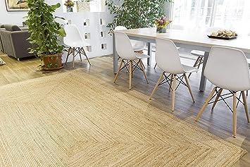 Rugsite 100% Jute Medium Rechteck Teppich, 120 x 180 cm. Natur Geflochten  Flor. American Style. Küchen, Wintergärten