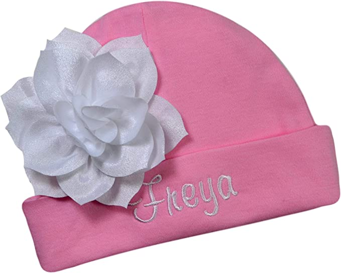 Personalized Embroidered Baby Girl Hat with Lotus Flower Your Custom Name
