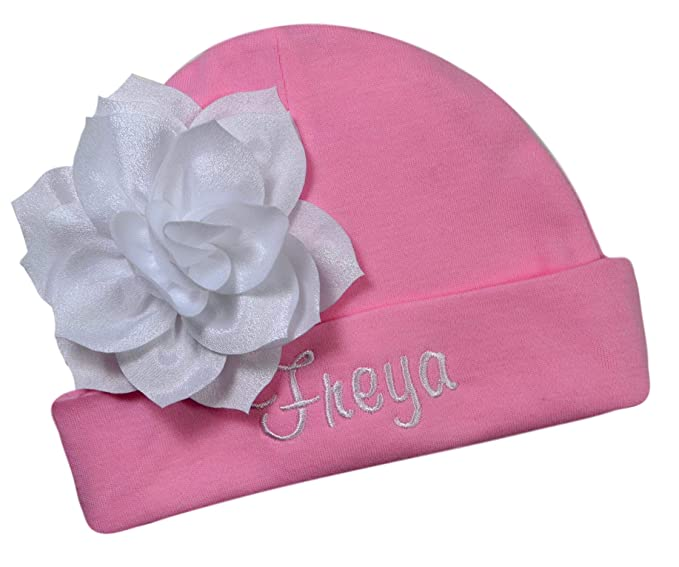 5e4a3eb4933 Personalized Embroidered Baby Girl Hat with Lotus Flower Your Custom Name  (Pink Hat White