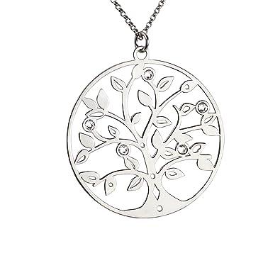 1076942ecf25 AKA Joyas - Colgante Árbol de la Vida y Cristales Swarovski Collar Plata de  Ley 925