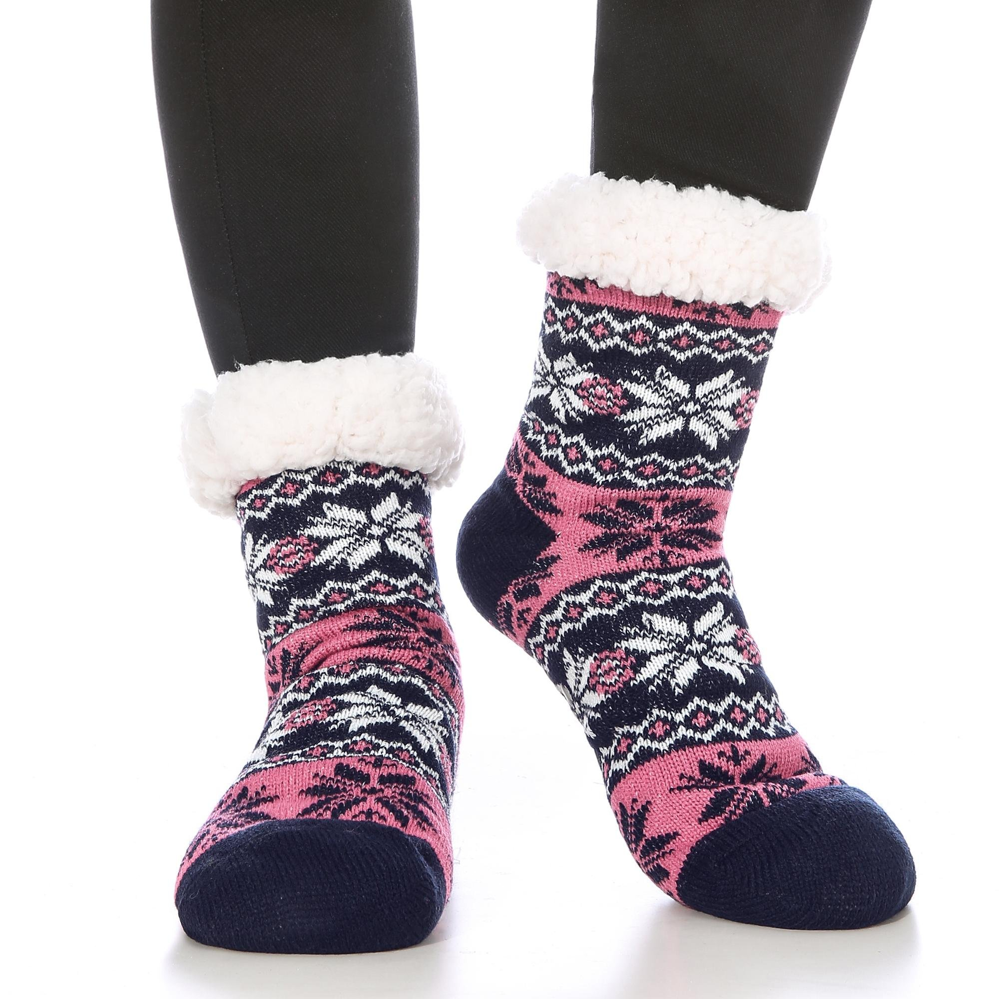Women's Slipper Socks Fuzzy Fleece-lined Winter Warm Cozy Soft Knee High Christmas Gifts