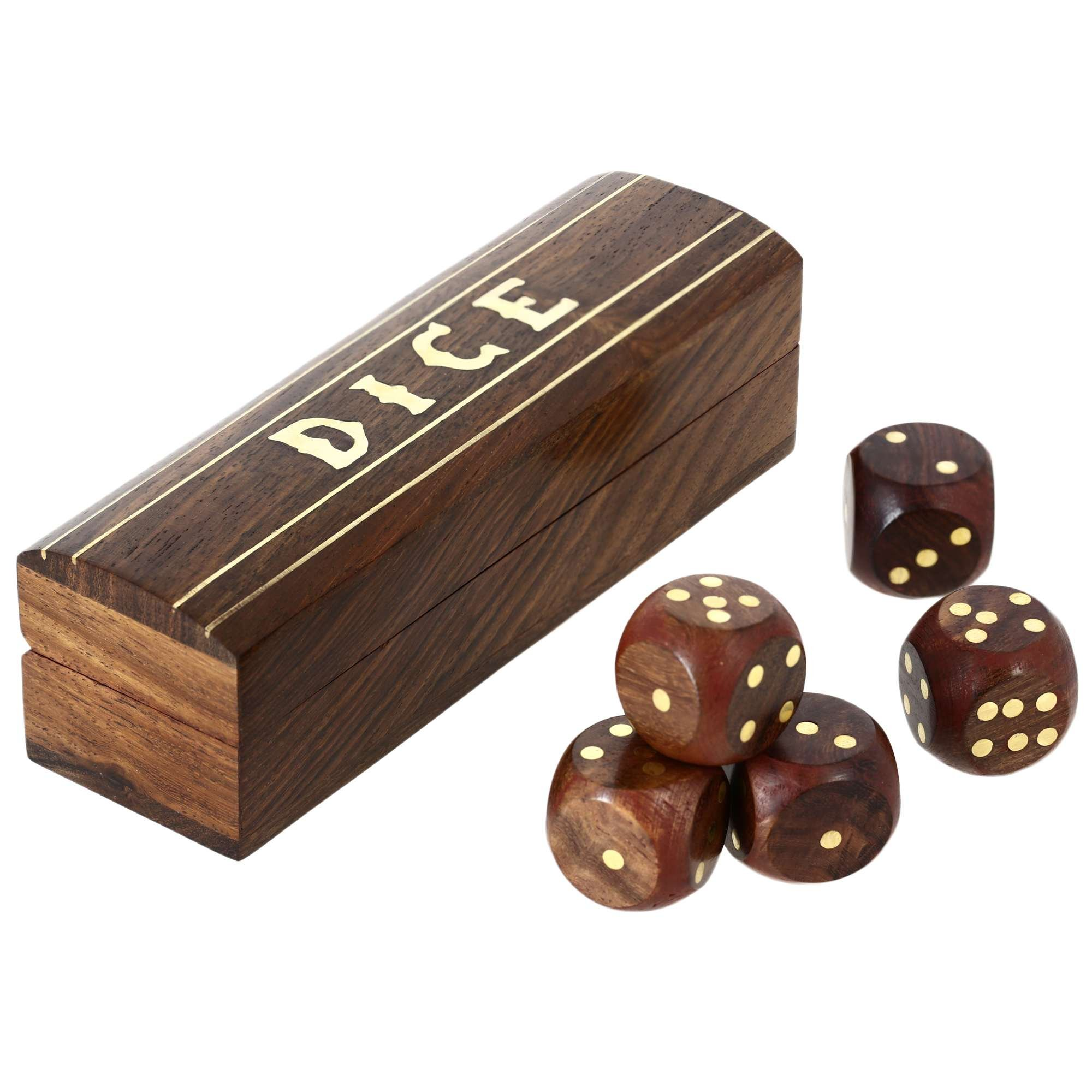 48 Units of ShalinIndia Handmade Indian Wooden Dice Game Storage Decorative Box with Brass Inlay and 5 dices