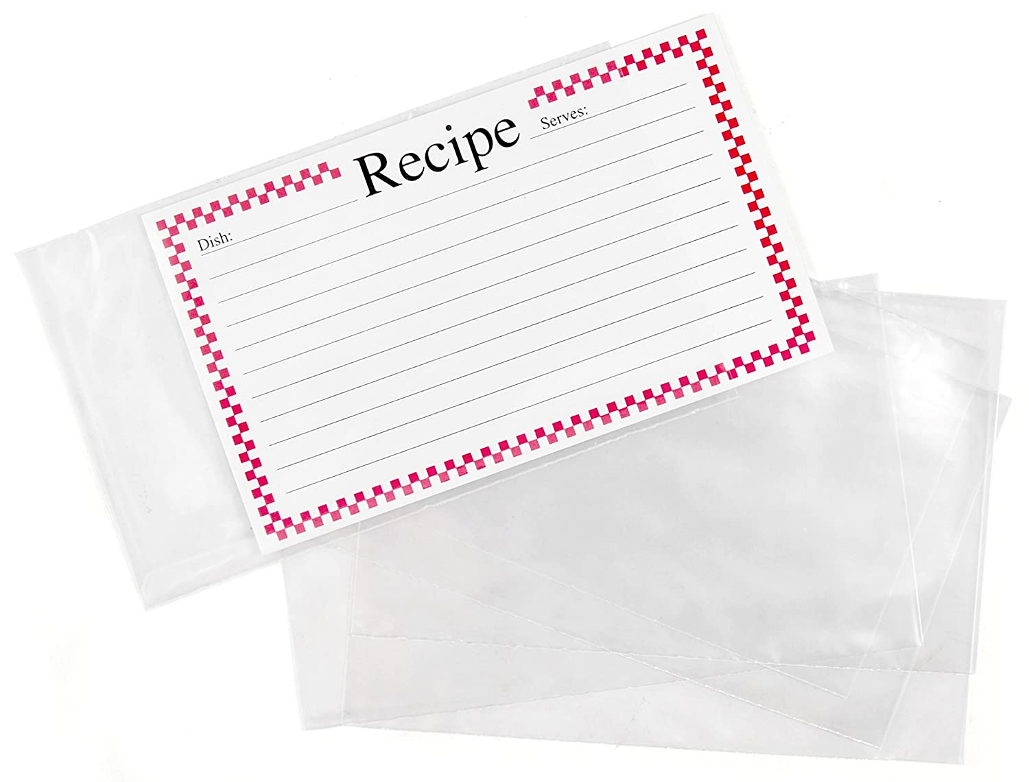 BigKitchen 2210 Clear Vinyl 3 x 5 Inch Recipe Card Covers, Set of 48