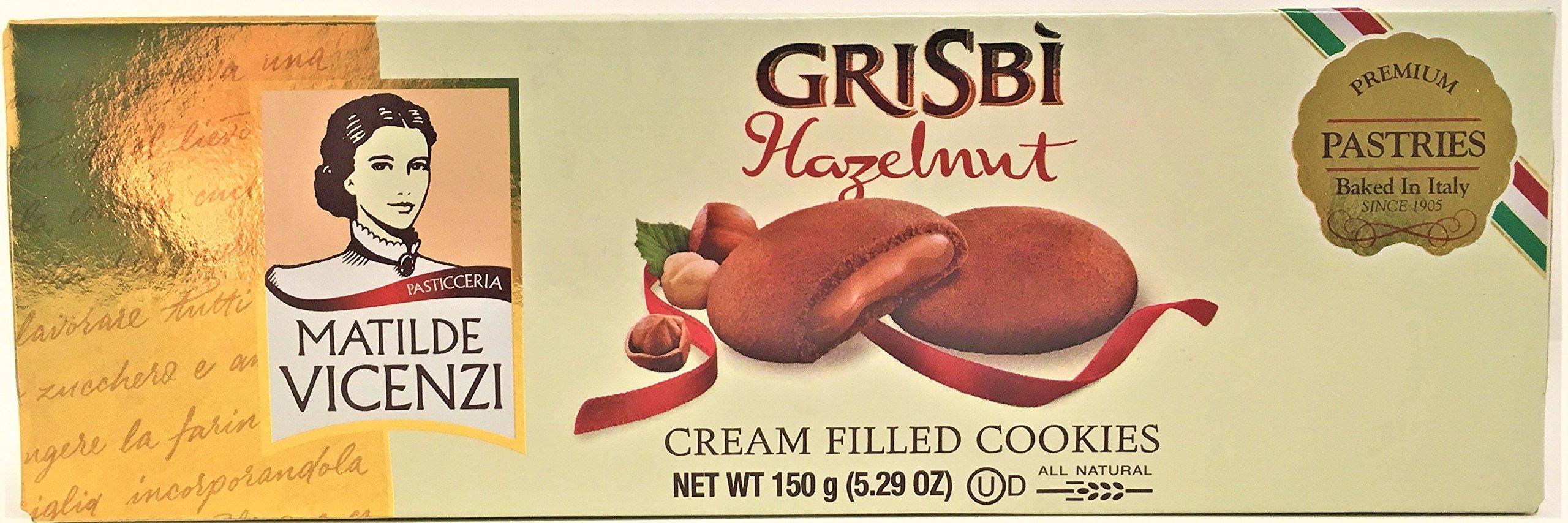 Matilde Vicenzi, Grisbi Hazelnut, Cream Filled Cookies, 5.29 oz, Pack of 6