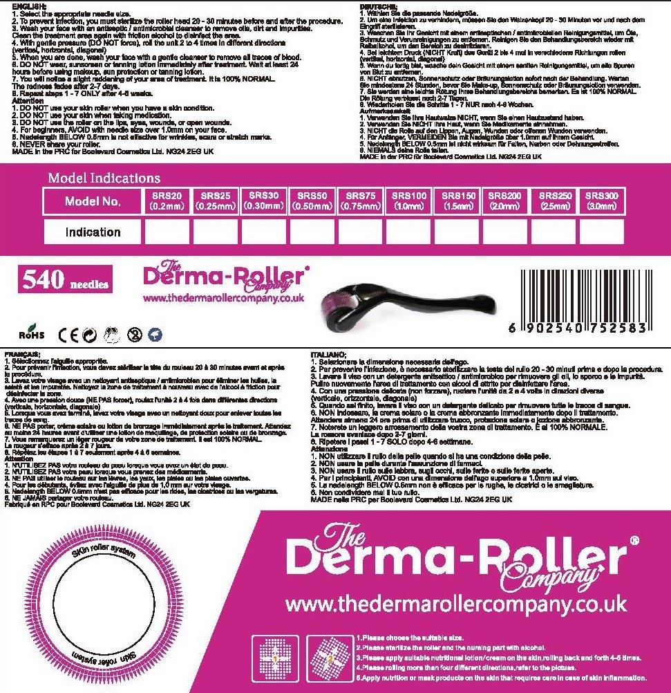2.5 mm Derma Roller Boolavard® TM + FREE Travel Case - Titanium Alloy Micro Needle Roller - 540 Needles-Best Skin Roller Boolevard Cosmetics Ltd.