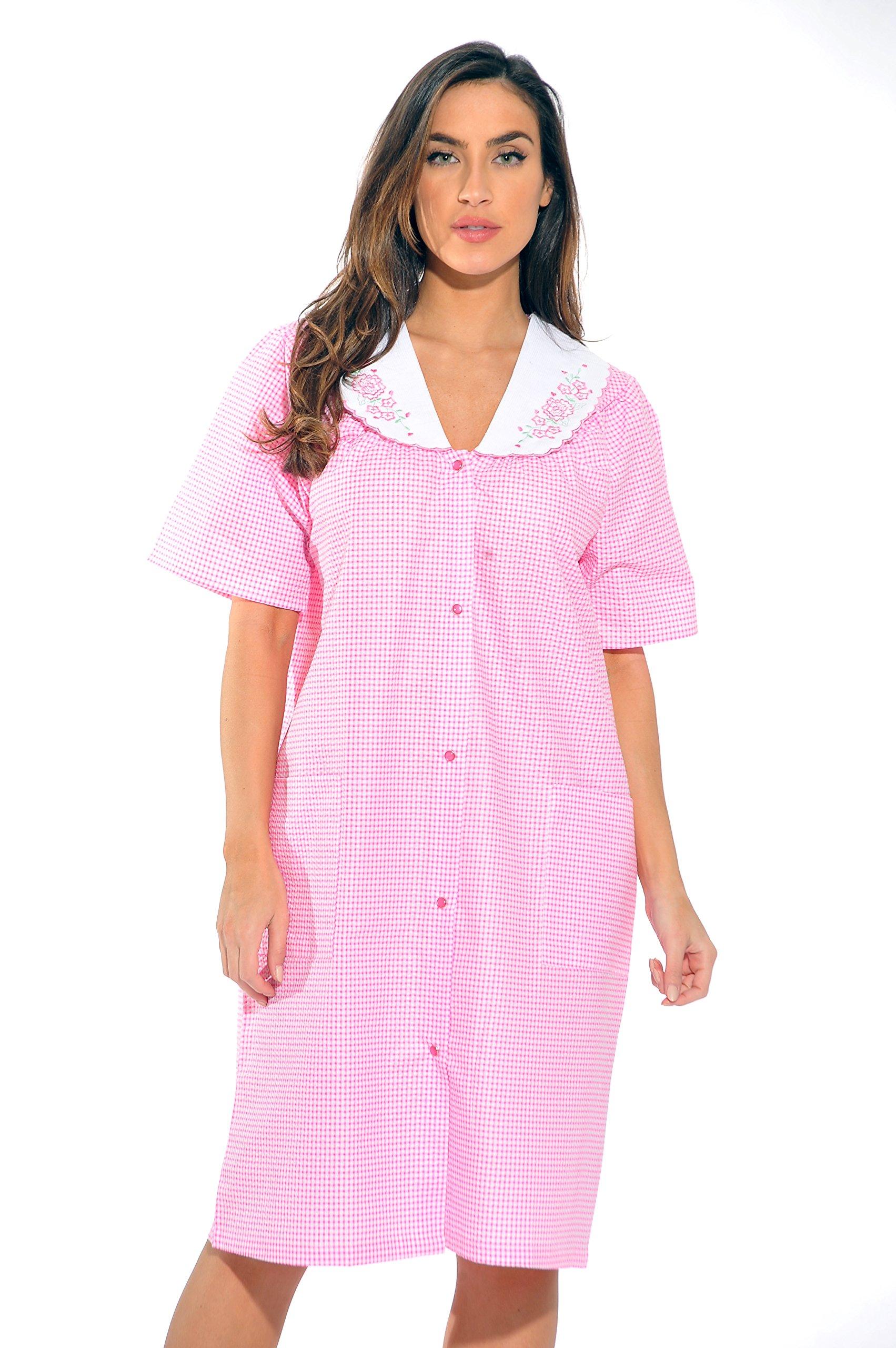 8511-Pink Throttle-L Dreamcrest Short Sleeve Duster/Housecoat / Women Sleepwear