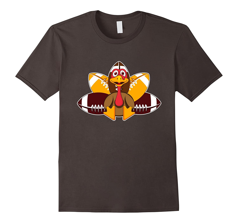 Turkey & Football Funny Thanksgiving Gobble T-Shirt-FL