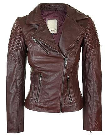 d8c1a48f0 Ladies Women Genuine Real Leather Slim Fit Burgundy Biker Jacket