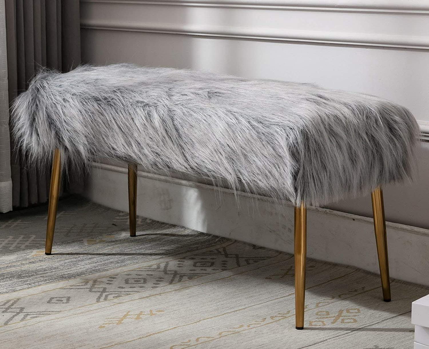 wahson faux fur long entryway bench ottoman foot rest stool seat modern contemporary fluffy bench for bedroom and dining gold metal legs 35 l x