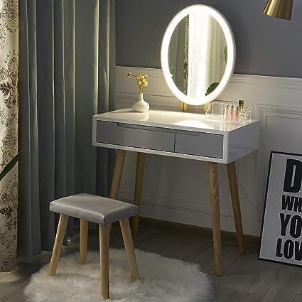Sgabello Imbottito e Organizer per Il Trucco Bianco+Grigio+Specchio Rettangolare con Specchio Regolabile Tavolino da toeletta con luci a LED YOURLITE