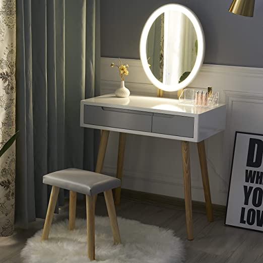 Yourlite Dressing Table With Led Lights Mirror White Vanity Makeup Table Set With Adjustable Brightness Mirror Cushioned Stool And Free Make Up Organizer White Grey Oval Mirror Amazon Co Uk Kitchen Home