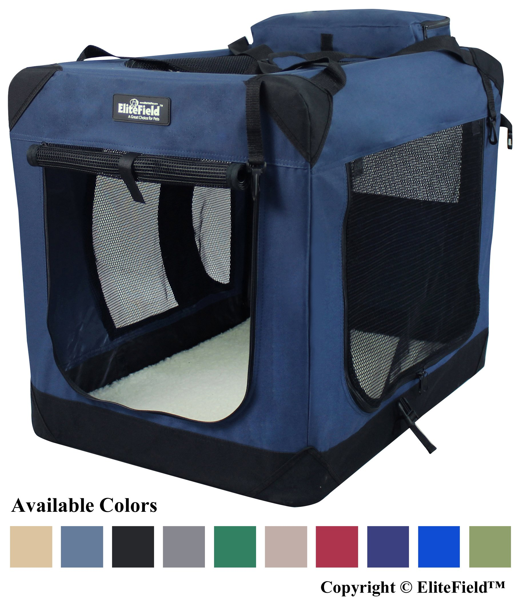 EliteField 3-Door Folding Soft Dog Crate, Indoor & Outdoor Pet Home, Multiple Sizes and Colors Available (20'' L x 14'' W x 14'' H, Navy Blue)