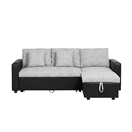 Modern Fabric Corner Sofa Pull Out Bed Left Right Chaise Grey