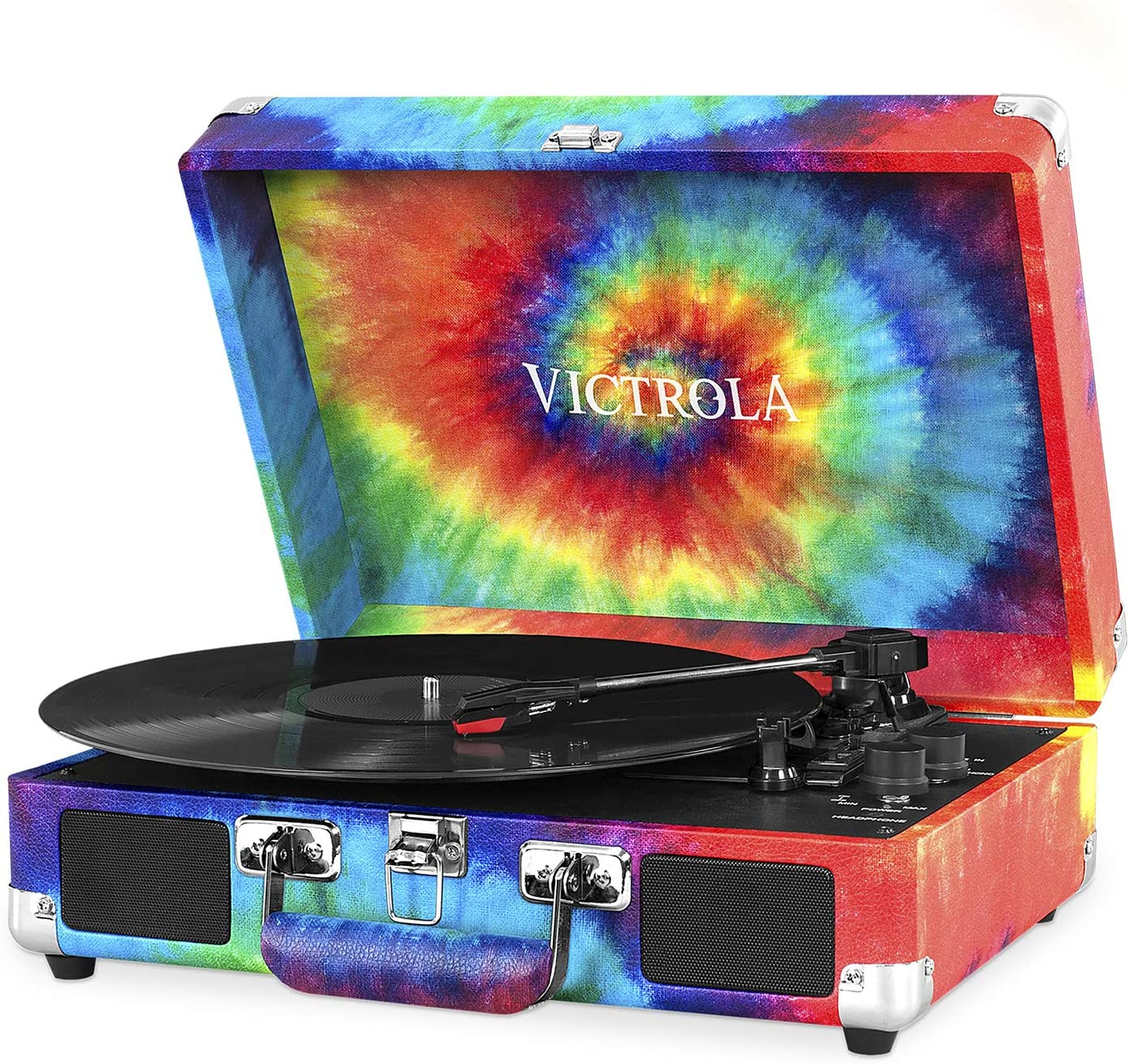 Victrola Vintage 3-Speed Bluetooth Portable Suitcase Record Player with Built-in Speakers | Upgraded Turntable Audio Sound| Includes Extra Stylus | Tie Dye, 1SFA (VSC-550BT-TDY)