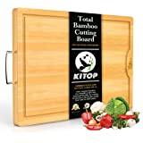 Large & Extra-Thick Bamboo Cutting Boards For Kitchen with Juice Groove-VUMM Organic Heavy Duty Chopping Board for Meat…