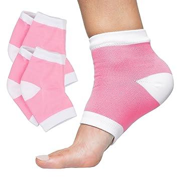 00908a4f39b62 Amazon.com   ZenToes Moisturizing Heel Socks 2 Pairs Gel Lined Toeless Spa Socks  to Heal and Treat Dry