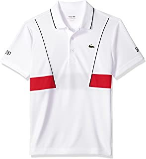 72dff455c1a10 Lacoste Men s Short Sleeve Pique Ultra Dry Contrast Broken Yoke   Piping  Polo